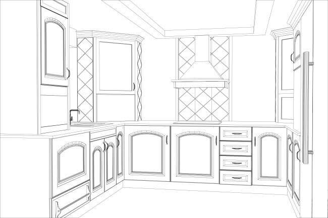 Black and white drawing of an updated, residential kitchen