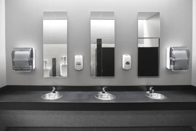 Row of sinks in an office bathroom