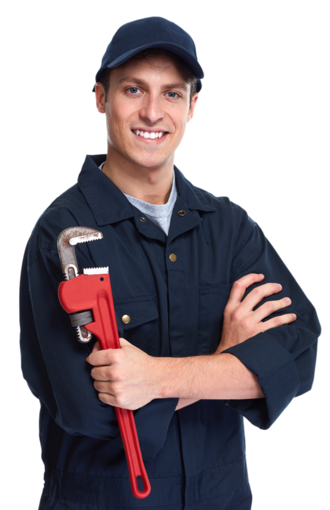 Smiling plumber wearing dark blue coveralls and holding a large, red wrench