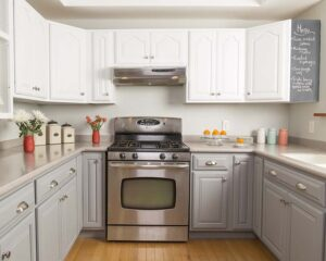 Residential kitchen with white upper cabinets and light grey lower cabinets and modern country decor